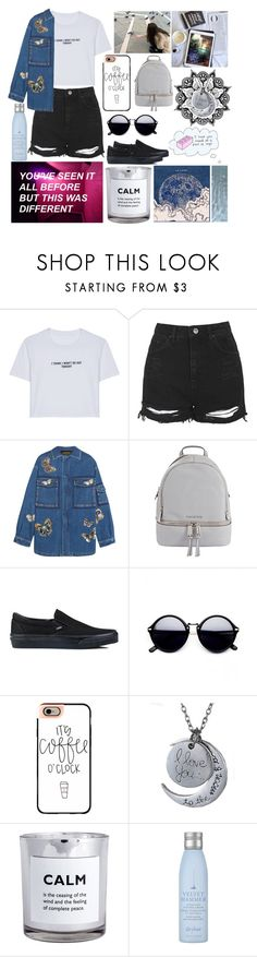 """// i think i wont go out tonight //"" by alltimecharis ❤ liked on Polyvore featuring WithChic, Topshop, Valentino, MICHAEL Michael Kors, Vans, Casetify, H&M and Drybar"