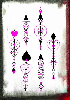 Some more geometric arrow tattoo designs, this time with a hearts/love theme.