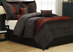 Luxury Comforter Set Decorative 7 Piece Modern Comforter Bedding King Size