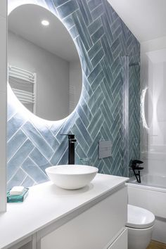 The crisp white paired with the gorgeous blue tiling is simply beautiful and the modern mirrors is the perfect touch! Brick Bathroom, White Bathroom, Modern Bathroom, Small Bathroom, Modern Mirrors, Rustic Backsplash, Bathroom Interior Design, Beautiful Bathrooms, Bathroom Inspiration