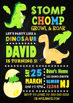 Dinosaur Invitation, Dinosaur Birthday Invitation, Dinosaur Party, Baby Dinosaur Chalkboard Invitation, Dinosaur 1st Birthday, Dinosaur Invite, Dino Invitation, Dino Invite, Dino First Birthday, Dino Birthday Party #dinosaur #dino #1stbirthday #invitations #birthday #baby #children