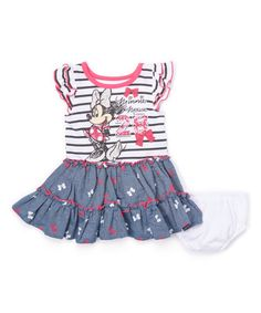 Loving this White Stripe Minnie Mouse Ruffle Dress - Infant & Toddler on #zulily! #zulilyfinds