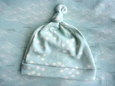 ORGANIC Baby Top Knot Hat - Scattered Dots, Blue via Etsy