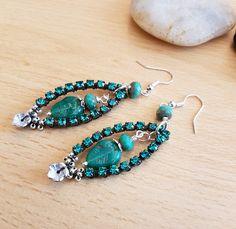 Rhinestone earrings, Lamp work earrings, Green bead earring, Silver plated earring, Women's earring, Dangle earrings, Hand crafted jewellery by SweetgemsDesign on Etsy