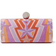 Emilio Pucci Star-appliquéd suede box clutch (£492) ❤ liked on Polyvore featuring bags, handbags, clutches, purple, multi color purse, star purse, suede handbags, hard clutch and hardcase clutch
