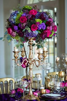 Mardi Gras Wedding Inspiration from The Graceful Host and Old South Studios - Southern Weddings Magazine Quinceanera Centerpieces, Wedding Reception Centerpieces, Floral Centerpieces, Wedding Table, Floral Arrangements, Wedding Decorations, Tall Centerpiece, Quinceanera Ideas, Centrepieces