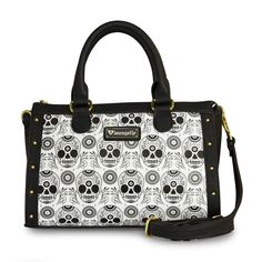 Loungefly Black & White Sugar Skull Duffle Purse Gothic Handbag Day of the Dead #Loungefly #HandbagSatchelDuffelBag