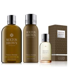 215787 - Molton Brown Tobacco Absolute Men's 3 Piece Body Collection  QVC Price: £52.00 + P&P: £4.95  RRP: £75.00  This item is available through Advanced Order. It will be shipped the week commencing 16/10/2017.  This three-piece collection from Molton Brown features a selection of products from the fabulous Tobacco Absolute range, including a shower gel, spray deodorant and an eau de toilette. Perfect for the dapper man in your life, this Molton Brown set is a great gift for a birthday…