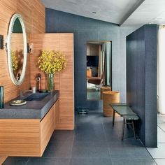 Mini wall  between toilet & sink (John Legend's Hollywood Hills Home : Architectural Digest)