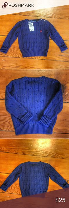 SALE NWT Polo Ralph Lauren cable knit sweater Blue New with Tags Polo Ralph Lauren cable knit sweater Blue, 18 month. Dark blue with ur red horse. Super warm and cozy! Ask any questions, happy shopping! Polo by Ralph Lauren Shirts & Tops Sweaters