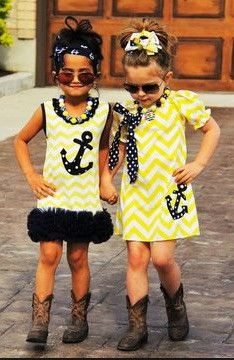 Youth Navy and Yellow Chevron pattern anchor dress with cap sleeves, as shown in the photo right hand side. Necklace and Bow sold separate.