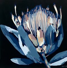 This is an open edition print of an original Anya Brock painting. Open edition prints aren't numbered or limited in edition but do come with a signed Certificat Protea Art, Australian Native Flowers, Guache, Artwork Images, Leaf Art, Abstract Flowers, Acrylic Art, Portrait Art, Flower Art