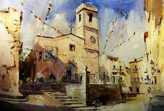 Spanish water colors of Laurentino Martí Marti, City Scene, Spanish Artists, Beautiful Architecture, Urban Landscape, Ink Art, Art Blog, Watercolor Paintings, Watercolors