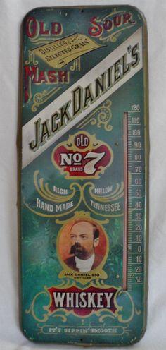 "Jack Daniels ""OldSour Mash"" Enamel Thermometer Sign, circa 1960's"