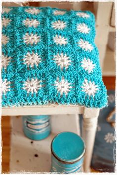 Not this pattern, not these colors, but crocheted chair seats would be awesome. Maybe a use for that nylon cord?