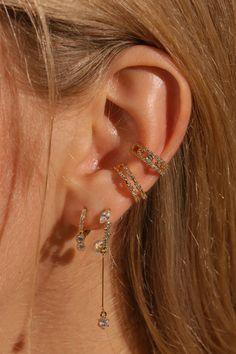Ear Jewelry, Cute Jewelry, Jewelery, Pretty Ear Piercings, Cuff Earrings, Jewelry Trends, Fashion Jewelry, Bling, Birthday Presents