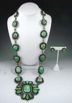 Necklace & Earrings | Paul Stungesten (Navajo).  Sterling silver with Carico Lake Turquoise:
