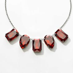 """Crystal Red Magma crystal; oxidized silver plating; 16"""" to 19"""". Lobster clasp closure. Touchstonecrystal.com/melissaNJ"""