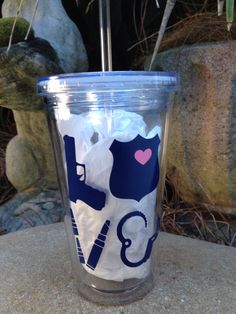 Police LOVE Tumbler with Straw 16oz by BOWSandBADGES on Etsy