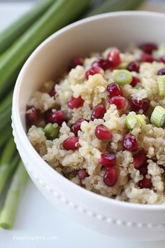 Pomegranate salad with quinoa; Nix the olive oil for Phase 1, or leave it for Phase 2.  Isn't is pretty, though?