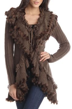 Ruffle Cardigan In Brown.