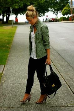 High Fashion For Woman Military jacket and leopard heels