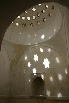 I love the stars reflected in the light from the roof in these traditional hammam/bath houses.
