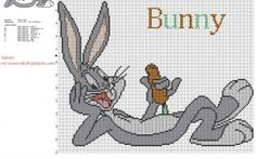 Looney Tunes cartoon character Bugs Bunny with a carrot free cross stitch pattern