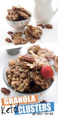 Easy to make and so salty sweet! Keto granola clusters make a delicious snack or a healthy low carb breakfast. A sugar-free treat that really satisfies the craving for crunch. Grain-free and gluten-free. #ketorecipes #granola #granolarecipe #ketobreakfast #lowcarb #sugarfree