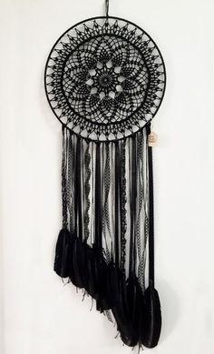 Magie noire BOHO Dreamcatcher Crochet napperon par CleanSl8: