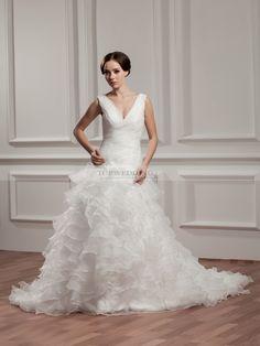 Phalicia - robe de mariée a-ligne sans manches en satin avec plissé
