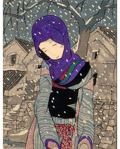Artist Takehisa Yumeji Japanese Woodblock Print Name Yuki no Yo no Densetsu (Legend of the night of snow) Japanese Art Modern, Japanese Prints, Japanese Illustration, Illustration Art, Art Occidental, Painting Prints, Art Prints, Art Asiatique, Art Japonais