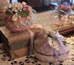 Paper mache' Easter eggs wrapped in lace and fabric with vintage millinery flowers