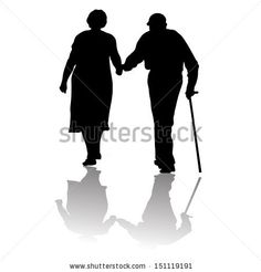 old couple walking away | silhouette of an old couple keeping for hands - stock vector
