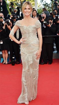 HEIDI KLUM IN MARCHESA, Cannes 2012 Klum looked breathtaking when she took to the red carpet in the is dazzling Marchesa design which was fully beaded with fringe detailing.