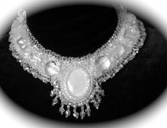 Bead Embroidered Collar  Opalite Cabachon by bjswearableart, $210.00