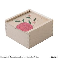 Pink rose Ikebana minimalist small keepsake box  A tiny keepsake box made of natural birch wood is awaiting for you to store your most cherished memories: old printed photos, CDs since childhood, heirloom jewelry, your first diary, you name it! You could even turn it into a time capsule and open it in 10-20-30 years in the future! Copyright © 2017, Anca Ioviţă #minimalistdesign #minimalistdesigner #zazzle #pink #rose #Ikebana #keepsake #box #timecapsule