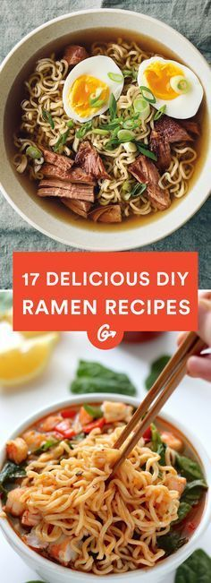 17 DIY Ramen Recipes That'll Make You Forget About Instant Noodles Ranging from bacon and egg to spicy Sriracha, these delicious recipes outdo any packaged variety—and are almost as easy to make. - Ranging from bacon and egg to spicy Sriracha, thes… Healthy Ramen, Healthy Eating, Healthy Recipes, Top Ramen Recipes, Asian Food Recipes, Dinner Healthy, Easy Recipes, Healthy Japanese Recipes, Shrimp Recipes
