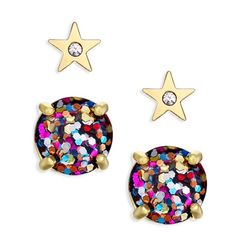 "Kate Spade Star & Multi Glitter Earrings Set Kate Spade gold star & multi glitter stud earrings. Set includes gold star with crystal and round multi glitter stud earrings. 12 karat gold plated metal. 14 karat gold filled posts. Approx. 1/2"" diameter. Price firm. Sold as set only. Comes in gift box. kate spade Jewelry Earrings"