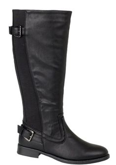 Soft faux leather knee length boots, elasticated stretch panels for all calf widths, buckle detail Zip fastening, length of the boots is 39cm, flat low heel is 2.5cm, see our full range at LORADORA Great for every season and bang on trend, as seen on many celebrities