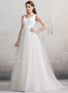 De baile Decote V Cauda de sereia Tule Vestido de noiva (002088478)