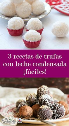 3 easy truffle recipes with condensed milk! Easy Desserts, Delicious Desserts, Dessert Recipes, Yummy Food, Chocolates, Condensed Milk Recipes, Sweet Bar, Truffle Recipe, Catering Food