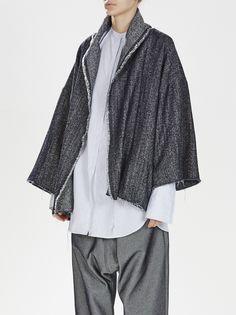 denim weave cropped kimono / denim