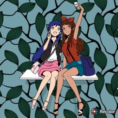 I colored it but got the image from the revolve app. Marinette and Alya