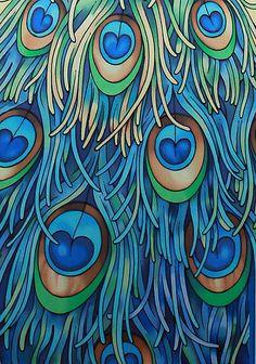 Peacock feathers art illustration. #peacockart