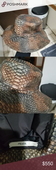 rare Prada $2100 100% python skin hat LN-02862 rare Prada $2100 snakeskin hat 100% python skin womans hat the, lining is nylon  (made in Italy)  date code: LN-02862 size : S rare item very hard to found This is Gorgeous hat in great condition no scales are missing no rips no tears date code is Attached and cleaning instructions along The prada label  This hat is for women and a True beautiful collectable and wearable item  any questions please ask  thanks for looking if offer made please be…