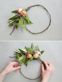 Secure bundles of flowers to wire for DIY floral crown. #weddingchicks Captured By: Natalie Probst http://www.weddingchicks.com/2014/06/16/this-diy-crown-is-a-must-for-your-flower-girl/