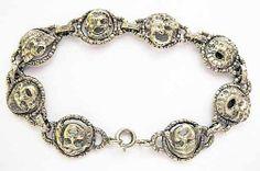 Vintage Signed Peruzzi Italy Sterling Masks Bracelet Grotesque Gargoyle Faces   eBay