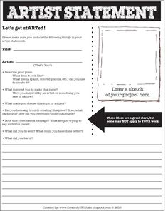 Create Art With Me!: Artist Statement Form for Middle School