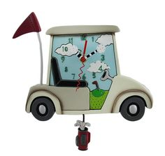 Allen Designs Stay The Course Whimsical Pendulum Wall Clock for sale online Pendulum Wall Clock, Wall Clocks, Clocks For Sale, Golf Gifts, Wall Signs, Whimsical, Hand Painted, Cart, Ebay